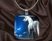 Unicorn Glass Tile Pendant with chain(CusFF21.2)