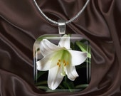 Lily Glass Tile Pendant with chain(CusFl1.2)
