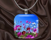 Wildflower Glass Tile Pendant with chain(CusFl4.6)