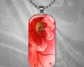 Poppy glass Tile pendant with chain(CuFlR1.7)