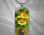 Sunflower Glass Tile Pendant with chain(CuFlR5.2)