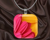 Vibrant Hot Pink and Bright Yellow Flower Petal Glass Tile Pendant with chain(CuFl19.4)