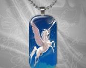 White Pegasus Horse Glass tile pendant with chain(CuFFR22.1)