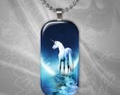 Unicorn Moon Glass Tile Pendant with chain(CuFFR13.3)