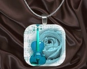 Turquoise Violin and Rose Glass tile pendant with chain(CuBu1.7)