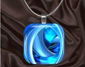 Blue Swirls Glass tile Pendant with chain(CUFF11.7)