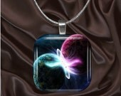 Colliding Planets glass tile Pendant with chain(CuFF12.6)