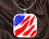 Abstract American Flag Glass Tile Pendant with chain(CuMi5.7)