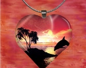 Dolphins at Sunset Heart Pendant with chain(CuAnH4.1)