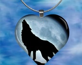 Howling Wolf Silhouette Heart Pendant with chain(CuAnH8.6)