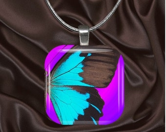 Glass Tile Pendant necklace Aqua butterfly on purple with your choice of chain included