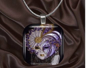 Purple Venetian Mask Glass Tile Pendant with your choice of chain included(mask4.5)