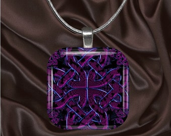 Purple Celtic Knot Design Glass Tile Pendant with your choice of chain included(Celtic1.4)