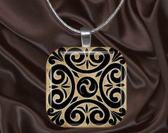 Celtic Design Glass Tile Pendant with your choice of chain included(Celtic4.5)