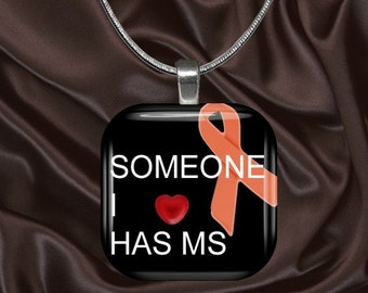 MS Awareness Glass Tile Pendant with your choice of chain included(MSAware2.1)