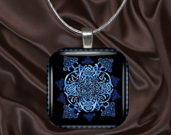 Blue Celtic Design Glass Tile Pendant with your choice of chain included(Celtic5.6)