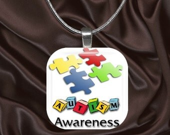 Autism Awareness Glass Tile Pendant with your choice of chain included(Autism Aware1.3)