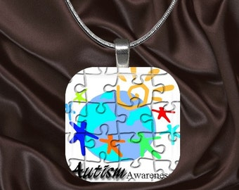 Autism Awareness Glass Tile Pendant with your choice of chain included(Autism Aware1.5)