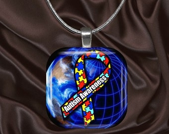 Autism Awareness Glass Tile Pendant with your choice of chain included(Autism Aware1.6)