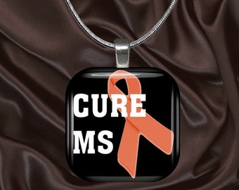 MS Awareness Glass Tile Pendant with your choice of chain included(MSAware1.3)