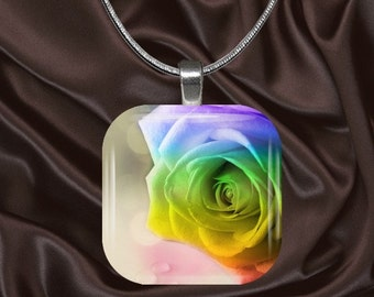 Rainbow Rose Glass Tile Pendant with your choice of chain included(Rainbow5.3)
