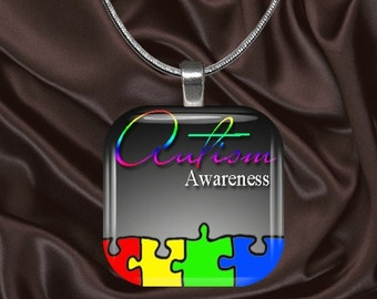 Autism Awareness Glass Tile Pendant with chain (autaware4.3)