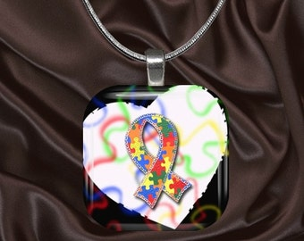 Autism Awareness Glass Tile Pendant with chain(autaware5.5)