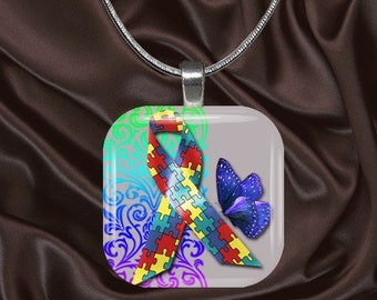 Autism Awareness Glass Tile Pendant with chain(aut6.5)