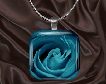 Teal Rose Glass Tile Pendant with chain(blue3.1)