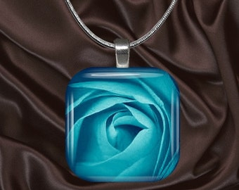Turquoise Rose Glass Tile Pendant with chain(blue3.4)
