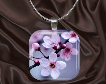 Cherry Blossom Glass Tile Pendant with chain(cherry5.2)