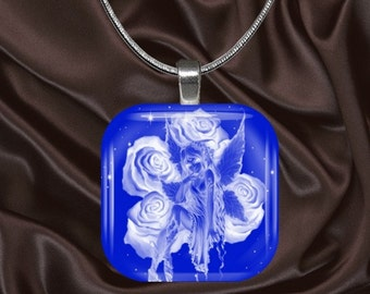 Fairy Glass Tile Pendant with chain(fairy1.4)
