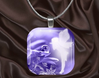 Fairy Glass Tile Pendant with chain(fairy2.4)