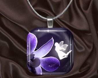 Fairy Glass tile pendant with chain(fairy3.2)