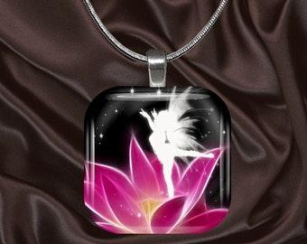 Fairy Glass Tile Pendant with chain(fairy4.4)