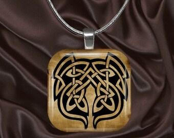 Celtic Glass Tile Pendant with chain(celtic2.3)