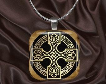 Celtic Glass Tile Pendant with chain(celtic3.6)