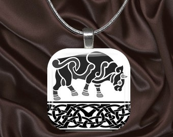 Celtic Glass Tile Pendant with chain(celtic4.3)
