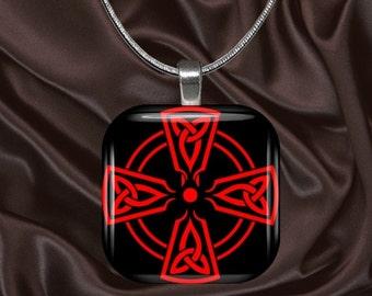 Celtic Cross Glass tile Pendant with chain(celtic6.3)