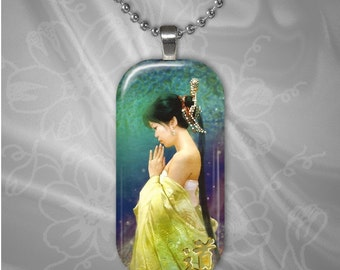 Eastern Woman Rectangular Glass Tile pendant with chain(east3.2)