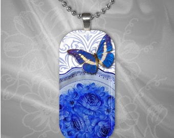 Blue Butterfly Rectangular glass tile pendant with chain(buR1.5)
