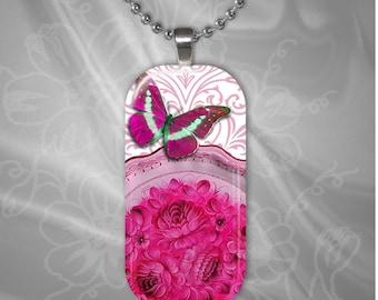 Butterfly Rectangular Glass Tile Pendant with chain(buR2.1)