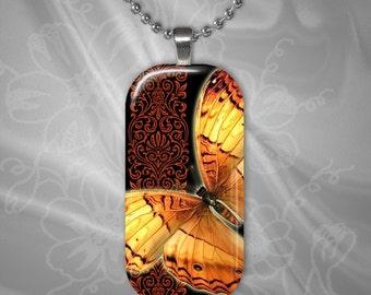 Butterfly Rectangular Glass Tile Pendant with chain(buR2.4)