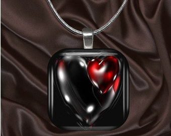Black Heart Glass Tile Pendant with chain(L3.7)