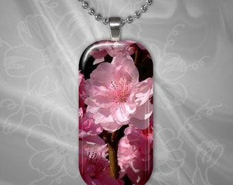 Cherry Blossom Glass Tile Pendant with chain(CuOr1X21.1)