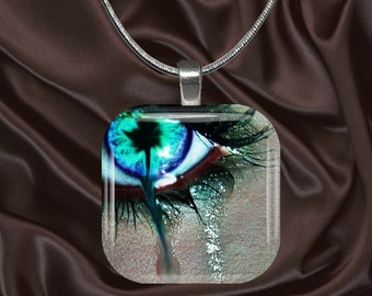 Eyes Glass tile Pendant with chain(eyes1.2)