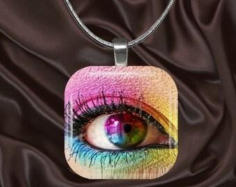 Rainbow Eye Glass Tile pendant with chain(eye1.6)
