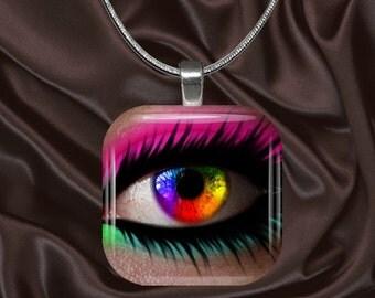 Rainbow Eye Glass tile Pendant with chain(eye6.4)