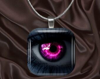 Hot Pink Eye Glass Tile Pendant with chain(eye8.6)