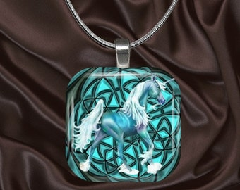 Unicorn Glass Tile Pendant with chain(CusFF18.4)